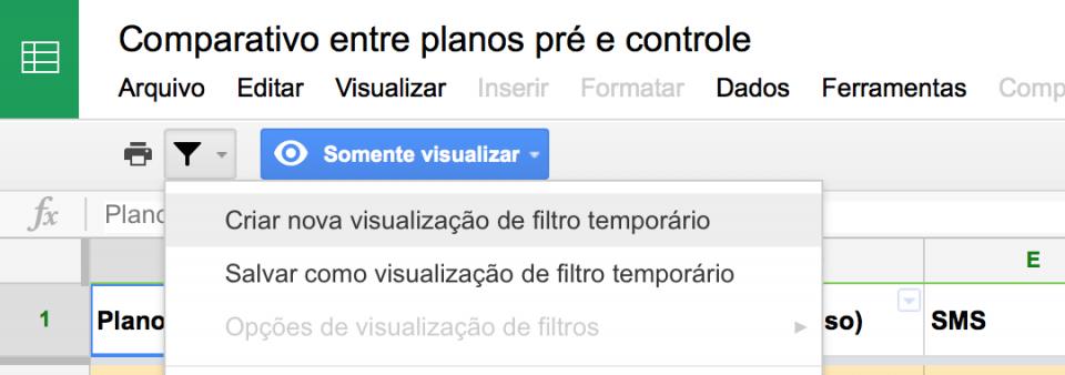 Onde ir para exibir filtros no Google Spreadsheets.