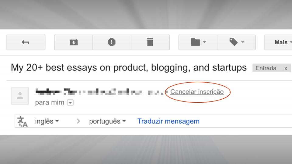 Link para cancelar inscrição no Gmail.