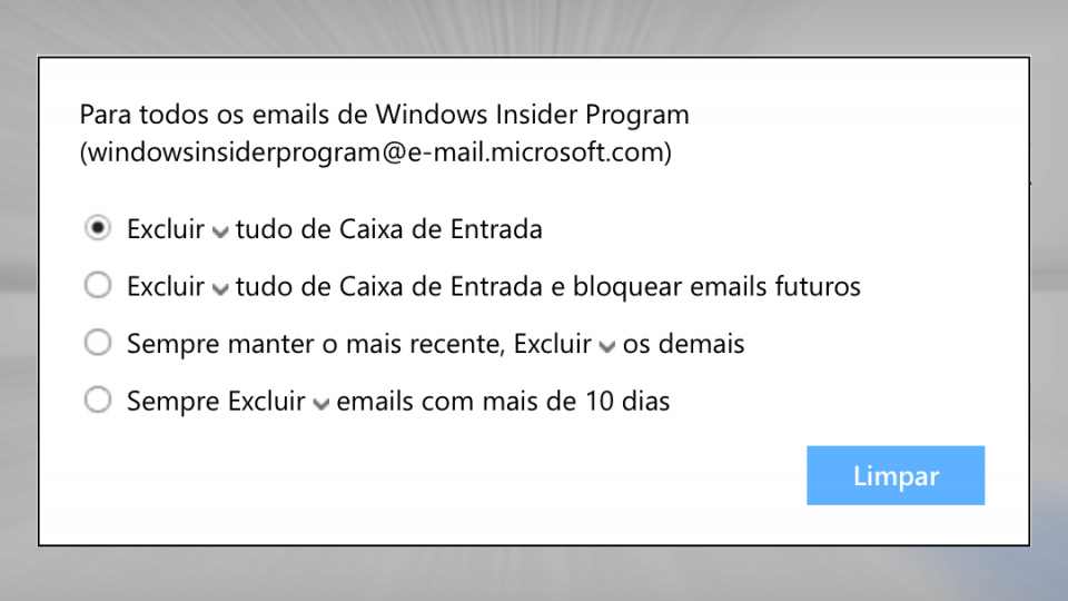 Limpeza de mensagens similares no Outlook.com.