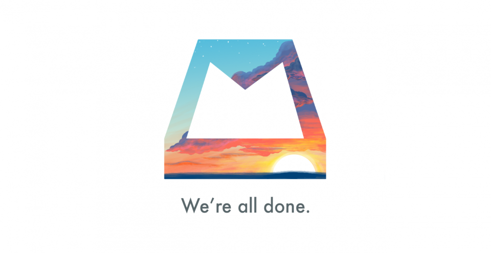 Imagem de despedida do Mailbox, cliente de e-mail do Dropbox.
