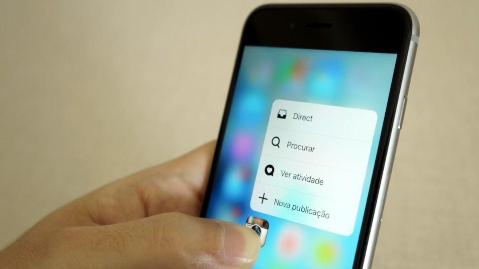Abrindo opções do Instagram via 3D Touch.