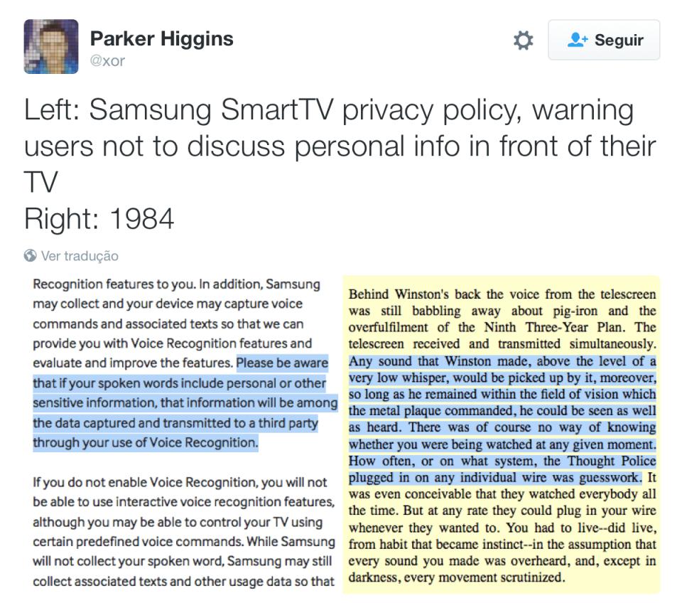 Comparação entre política de privacidade da Samsung e 1984.