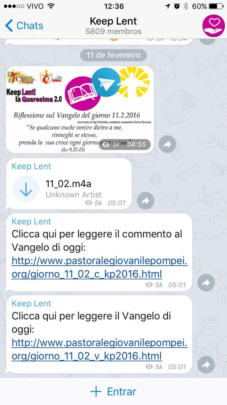 Print do canal @pgpompei, no Telegram.