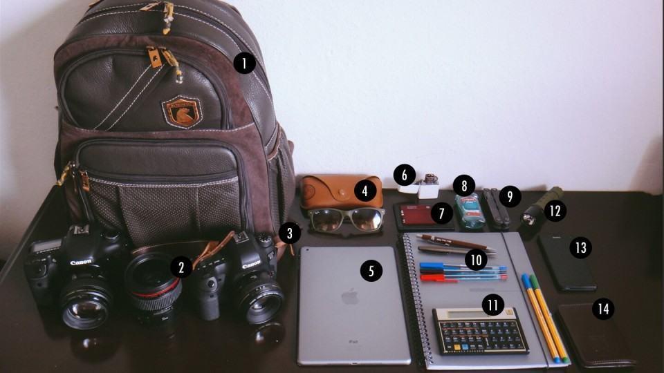 O que tem na mochila do Philipe Martins.