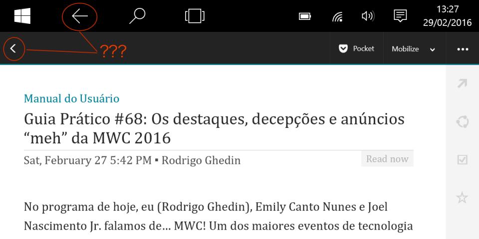 Qual seta apertar? App Nextgen Reader.