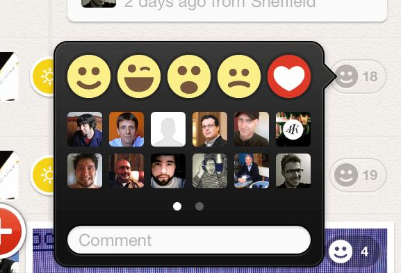Emojis de reação no Path.