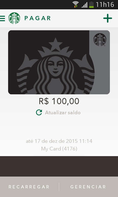 Print do app Starbucks para Android.