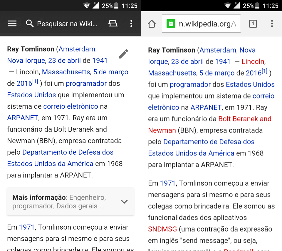 Comparação entre app nativo e versão web.