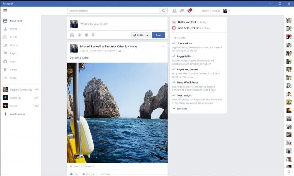 Print do Facebook Beta para Windows.
