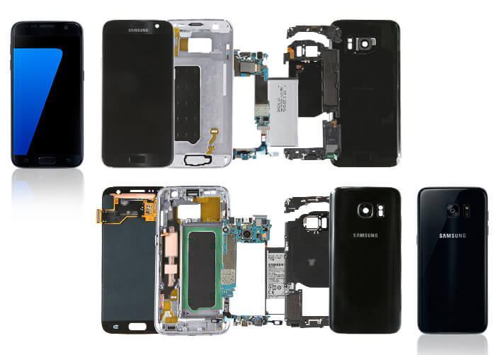 Galaxy S7 e S7 edge desmontados.