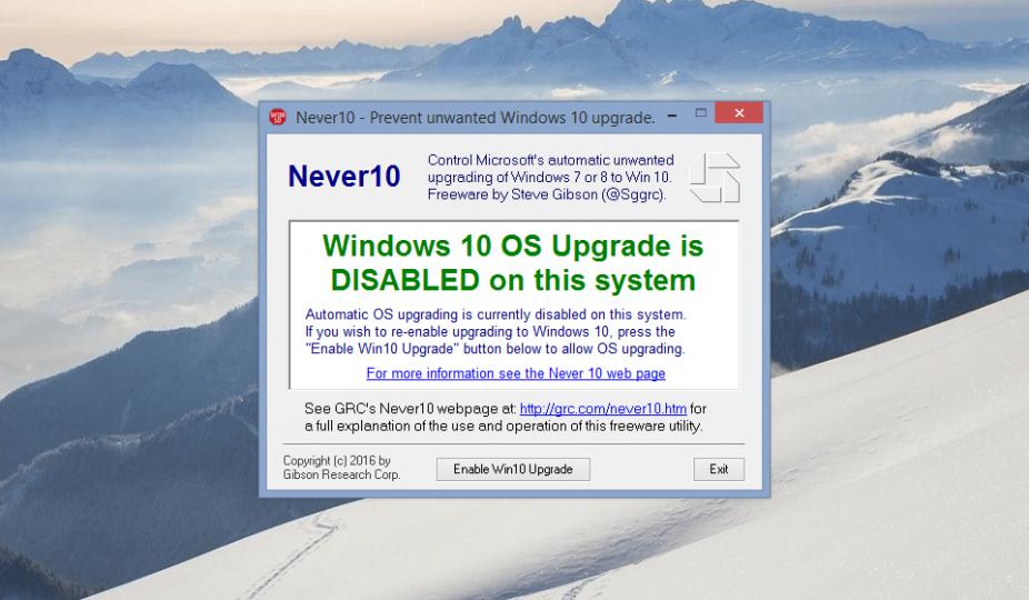 Never10, utilitário simples e gratuito, impede a atualização para o Windows 10
