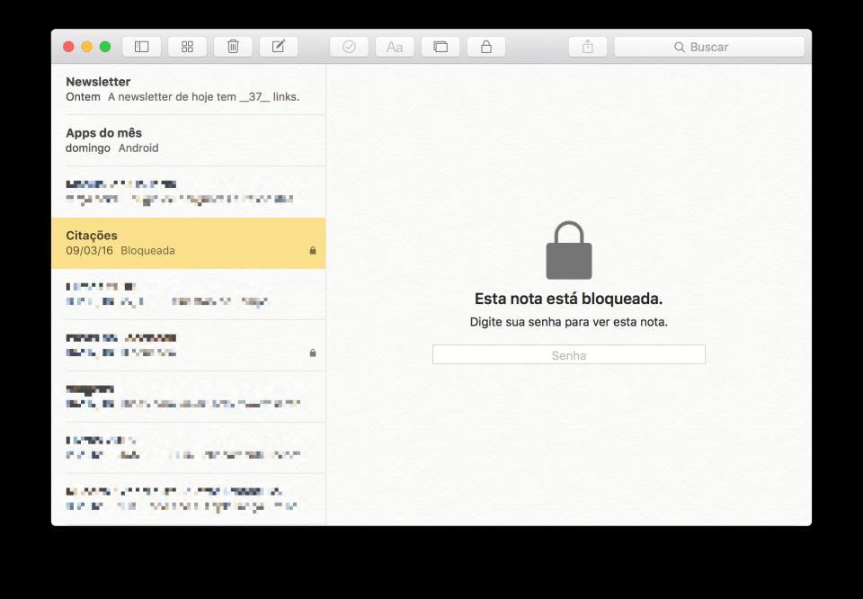 Bloqueio do Notas no OS X.
