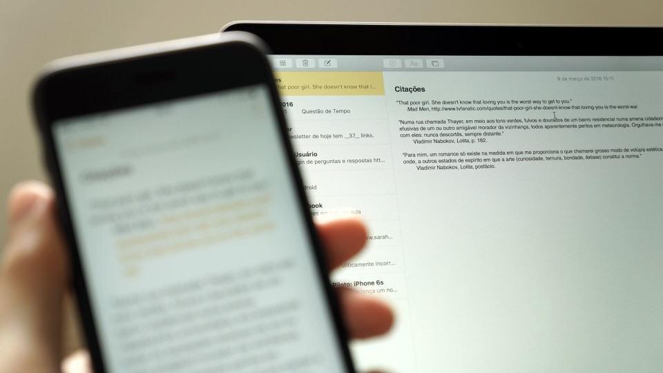 App Notas no MacBook Pro.