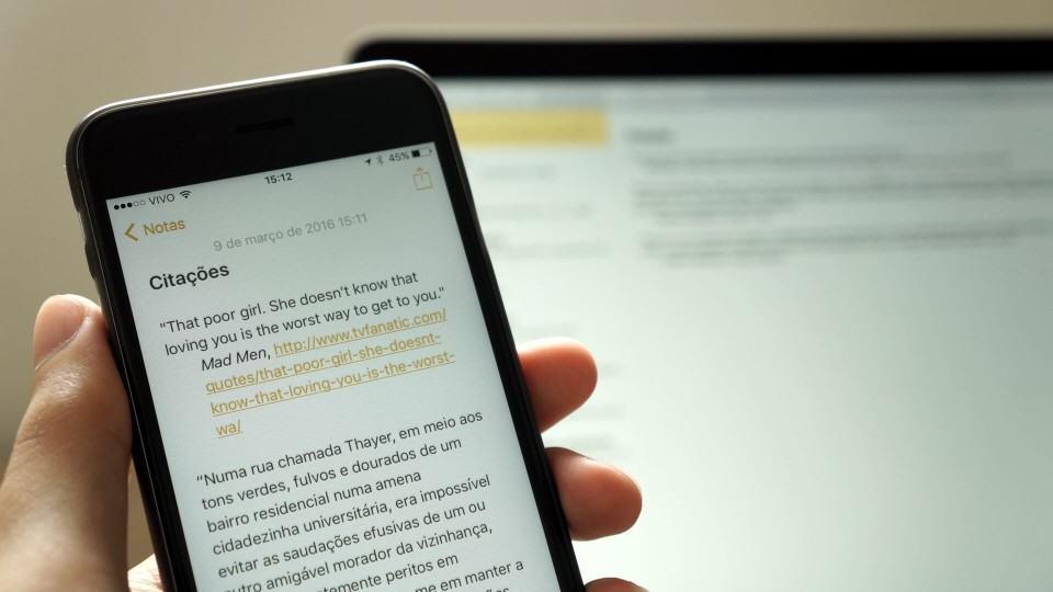 App Notas no iPhone 6s.