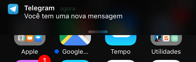 Notificação de Chat Secreto do Telegram.