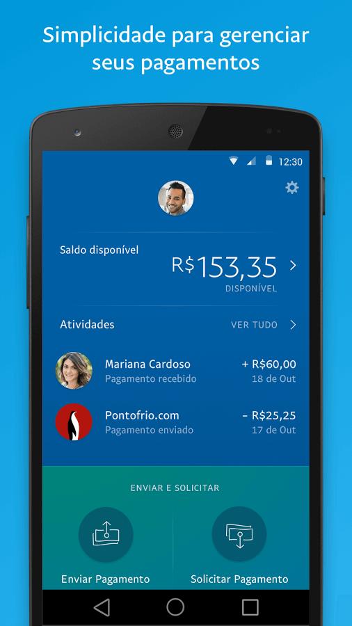 Print do PayPal para Android.