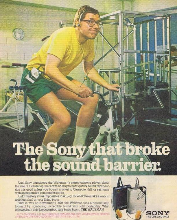 Propaganda impressa da Sony para o Walkman.