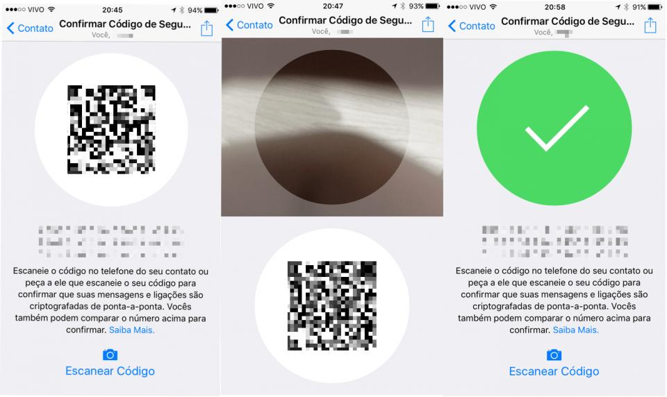 Tela do código QR para criptografia de ponta-a-ponta no WhatsApp.