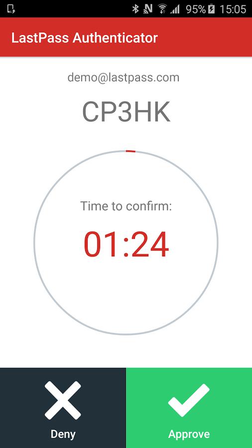 Print do LastPass Authenticator para Android.