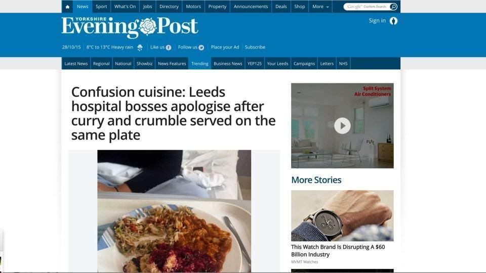 Notícia sobre comidas que se tocaram no hospital em Leeds.