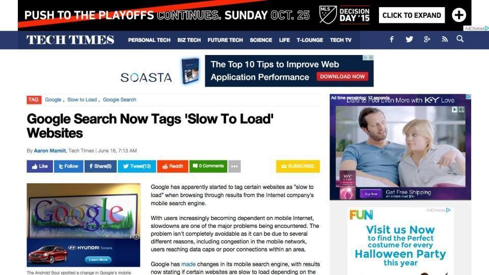 Artigo pesado do Techtimes alertando sobre riscos de páginas pesadas na web.