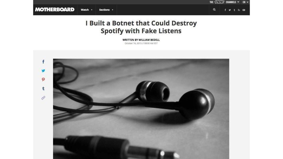 Foto dos fones de ouvido gigantesca em post da Vice.