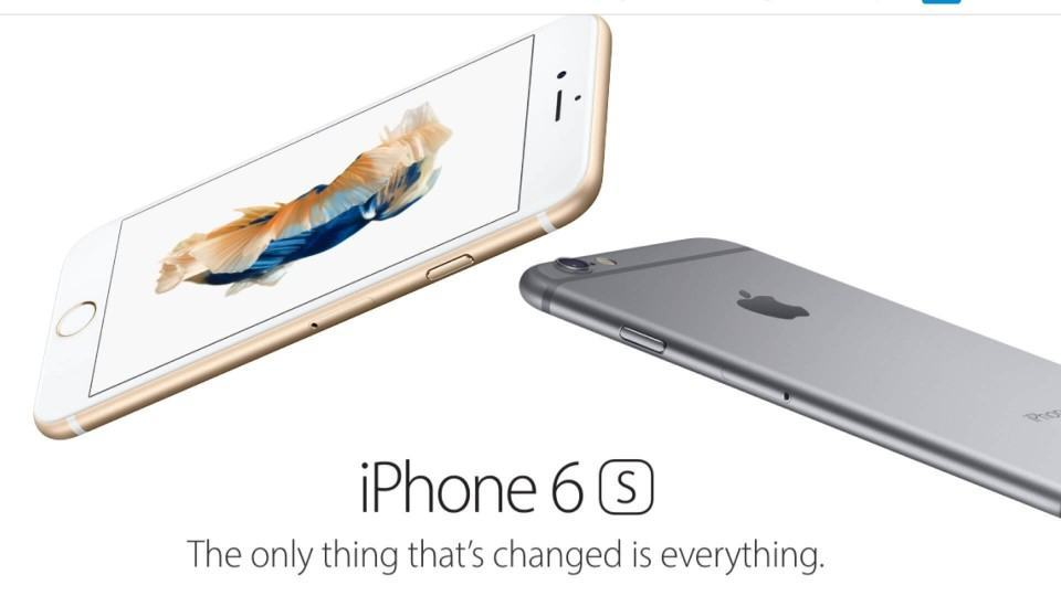 Print do site da Apple exibindo iPhone 6s.