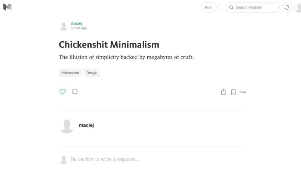 Artigo de uma frase no Medium.