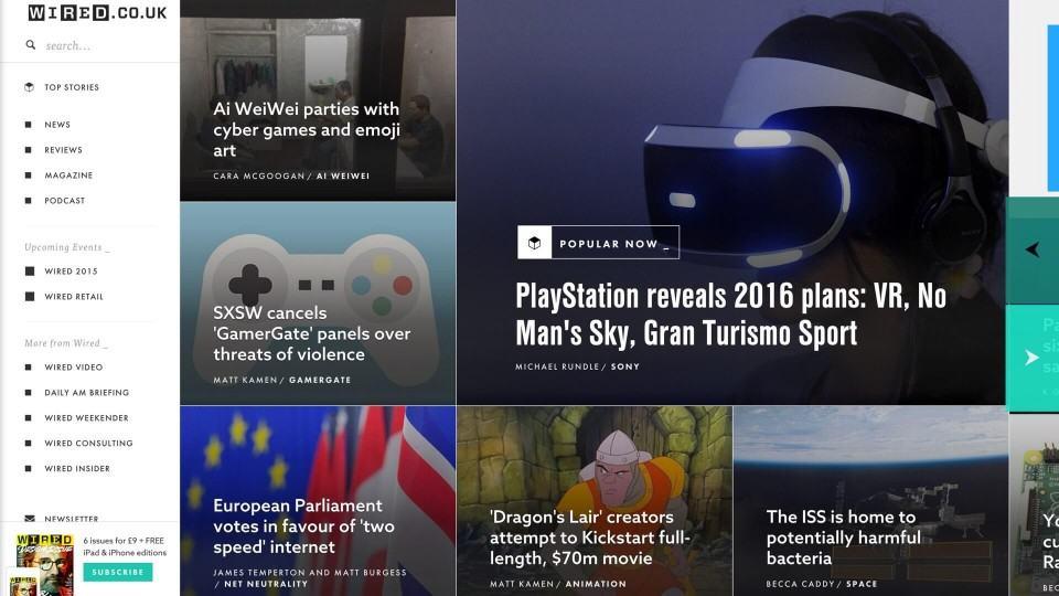 Página inicial da Wired britânica.