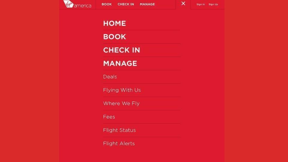 Registrando um voo na Virgin America.