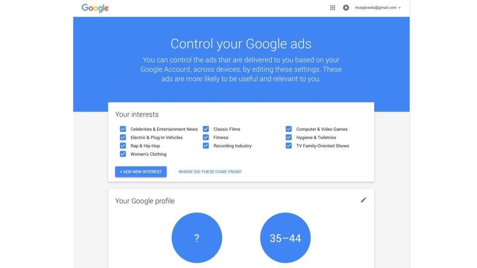 Print do painel de controle do Google.