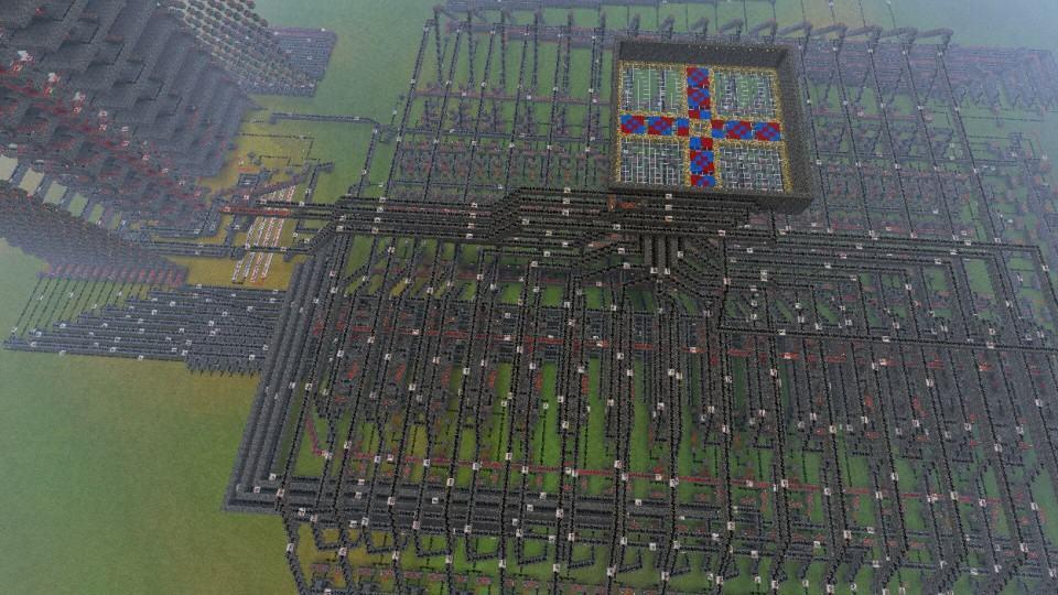 CPU construída dentro do Minecraft.