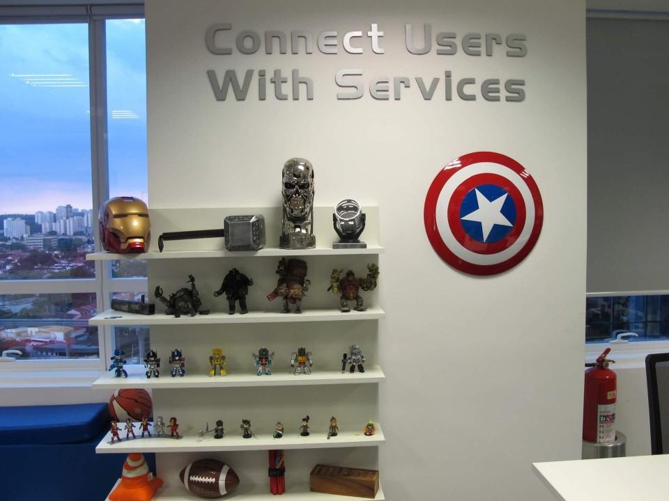 Objetos decorativos no escritório do Baidu.