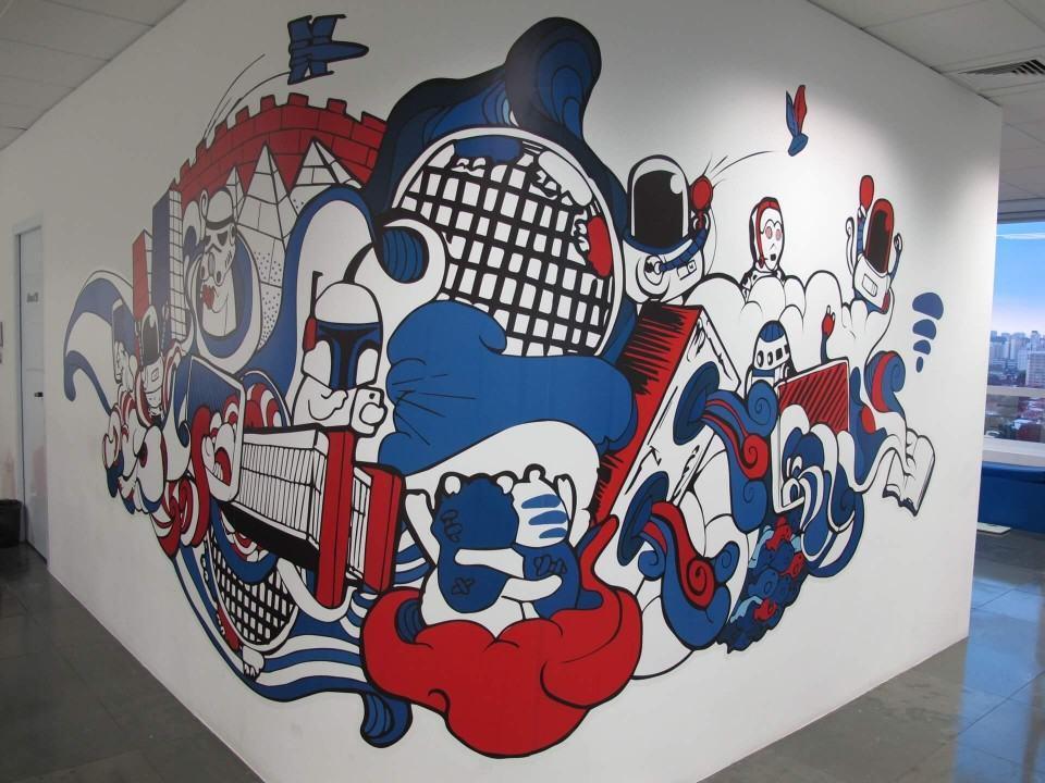 Pintura em detalhe no escritório do Baidu no Brasil.