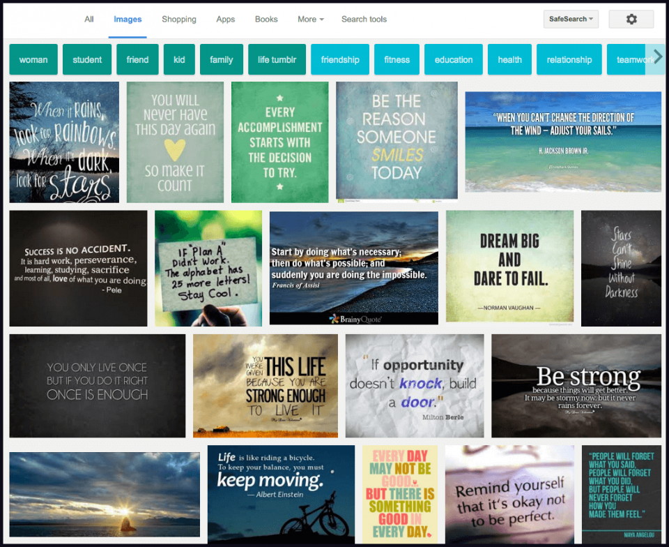 Pesquisa por Inspirational Quotes no Google Imagens.