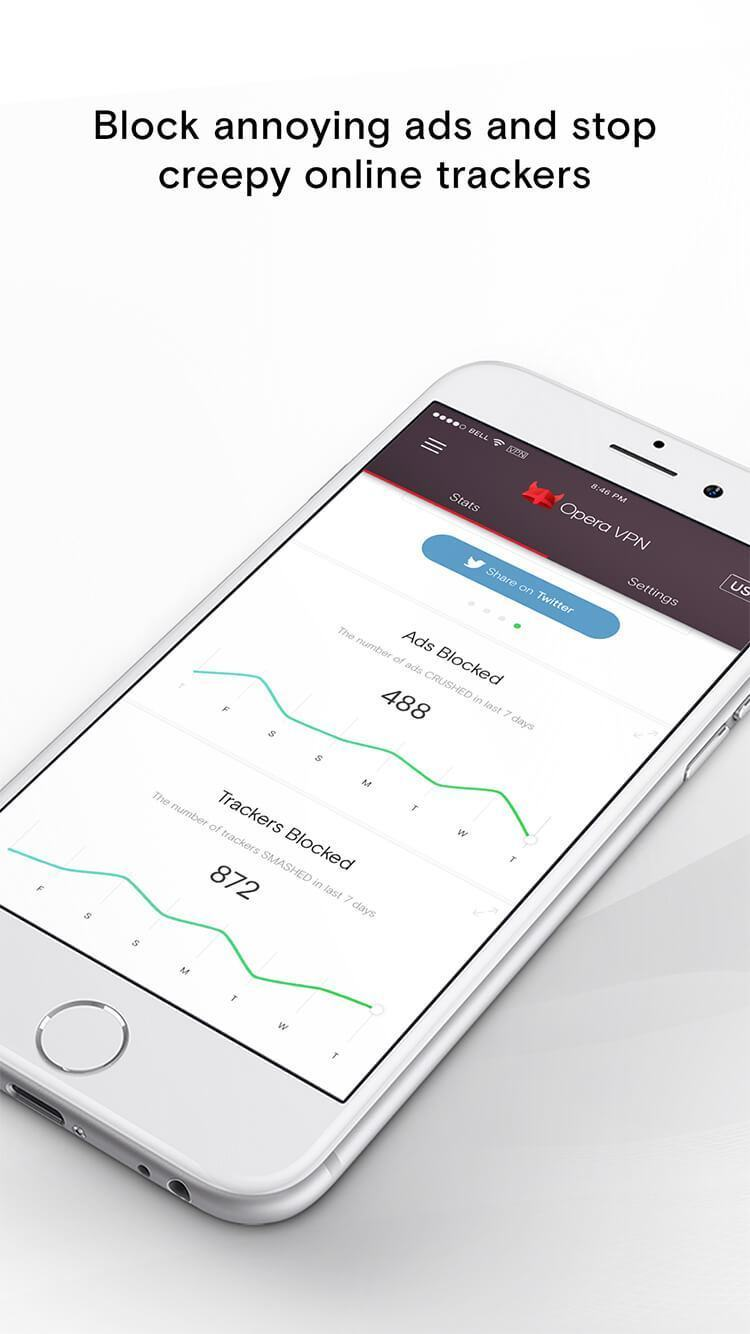 Print do Opera VPN para iPhone.