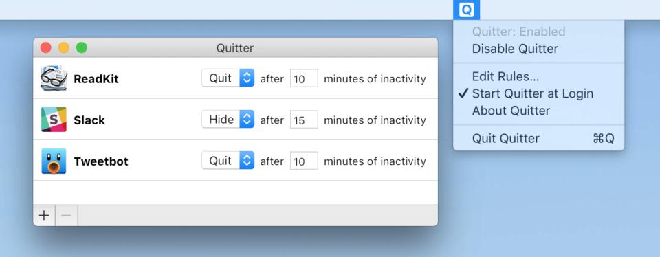 Print do Quitter para Mac.