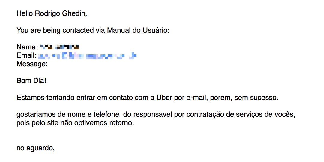 Tentando contratar o Uber por e-mail.
