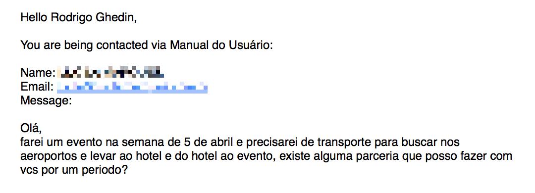 Mensagem perguntando sobre contratação do Uber.