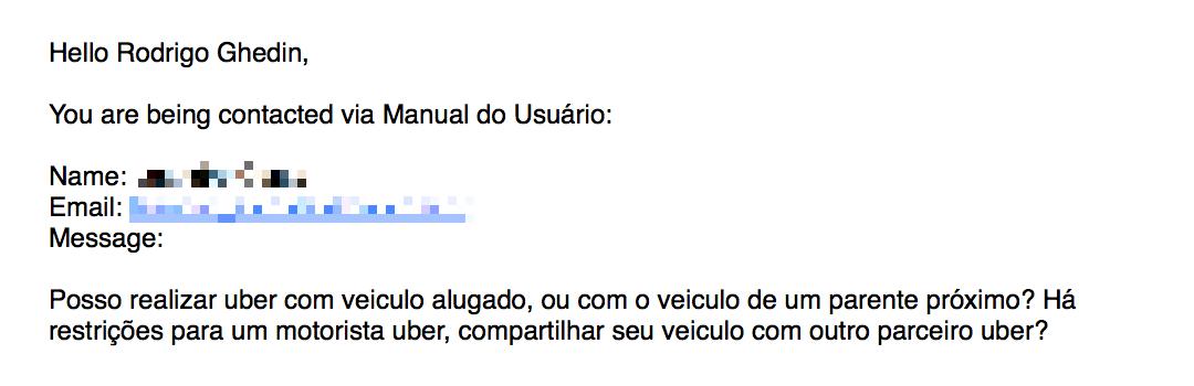 E-mail perguntando sobre trabalho no Uber.
