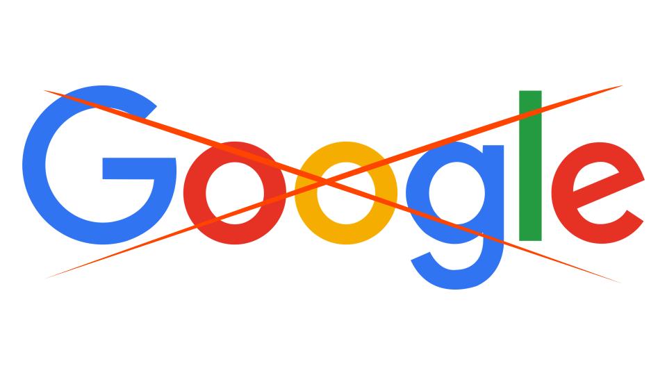 Google com um X vermelho na frente.