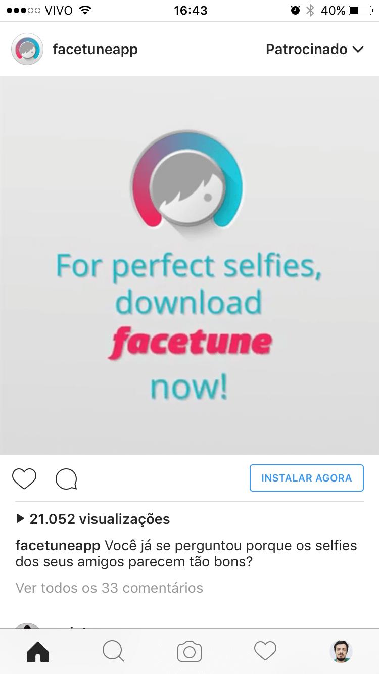 Anúncio do Facetune no Instagram.