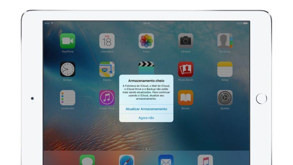 Aviso de armazenamento cheio em um iPad.
