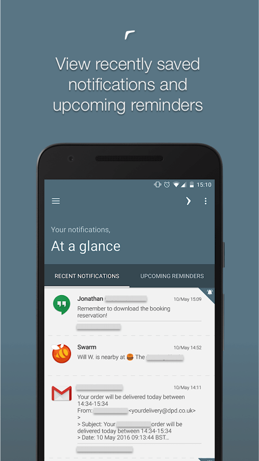 Print do Boomerang Notifications para Android.