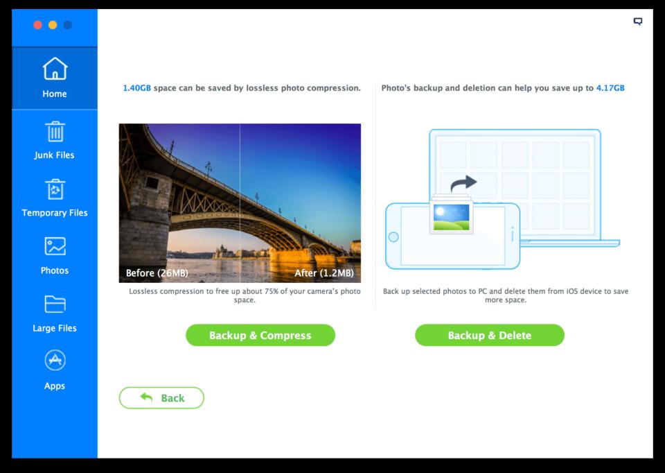 Opções para economizar espaço com fotos do iMyfone Umate.