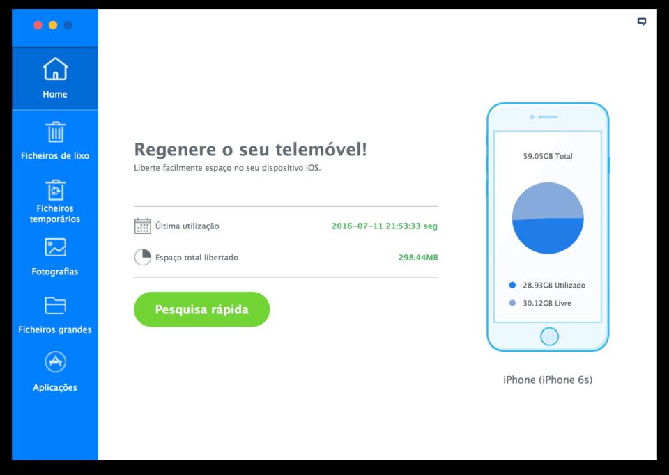 Tela inicial do iMyfone Umate.