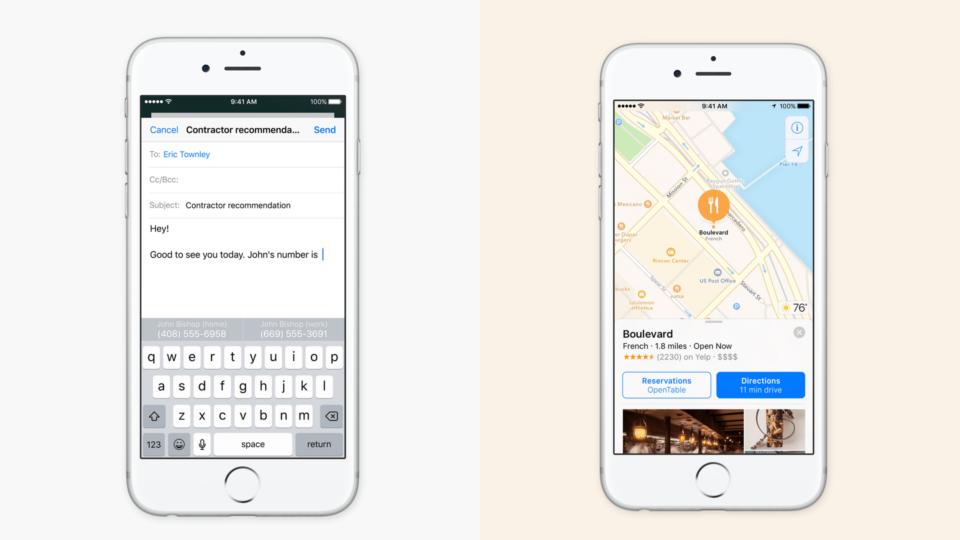 Exemplos de IA na interface do iOS 10.