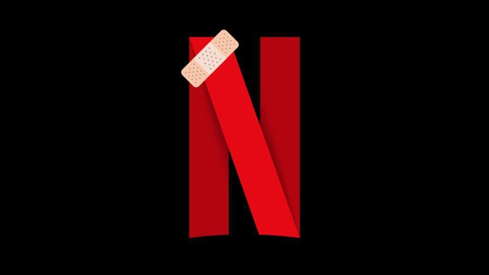 Logo da Netflix com band-aid.
