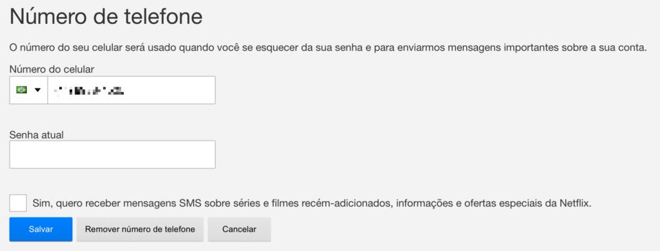 Tela de configuração do telefone na conta da Netflix.