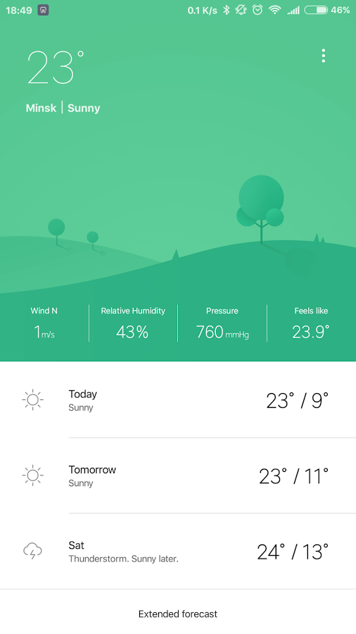 Print do Weather M8 para Android.
